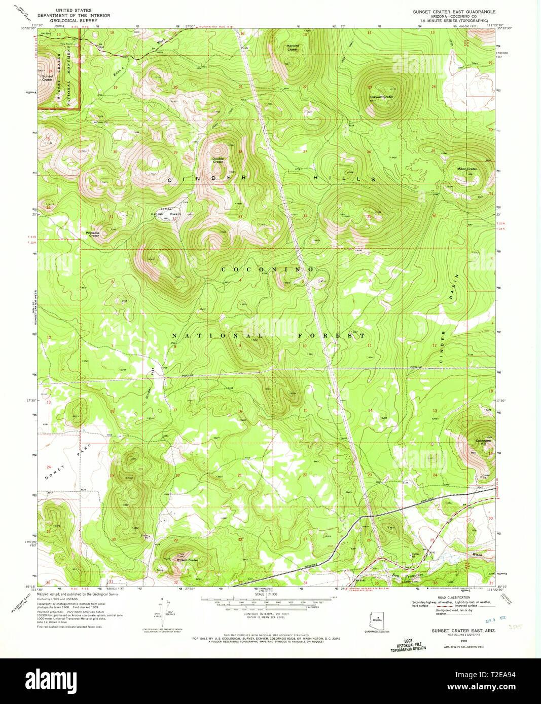 Map Of East Arizona.Usgs Topo Map Arizona Az Sunset Crater East 313594 1969 24000