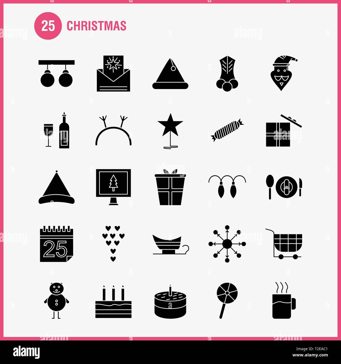 Christmas Solid Glyph Icons Set For Infographics, Mobile UX/UI Kit And Print Design. Include: Christmas Candy, Sweet, Christmas, Food, Meal, Clown, Sa - Stock Vector