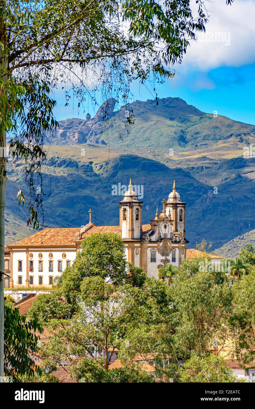 Old catholic church of the 18th century located in the center of the famous and historical city of Ouro Preto in Minas Gerais - Stock Image