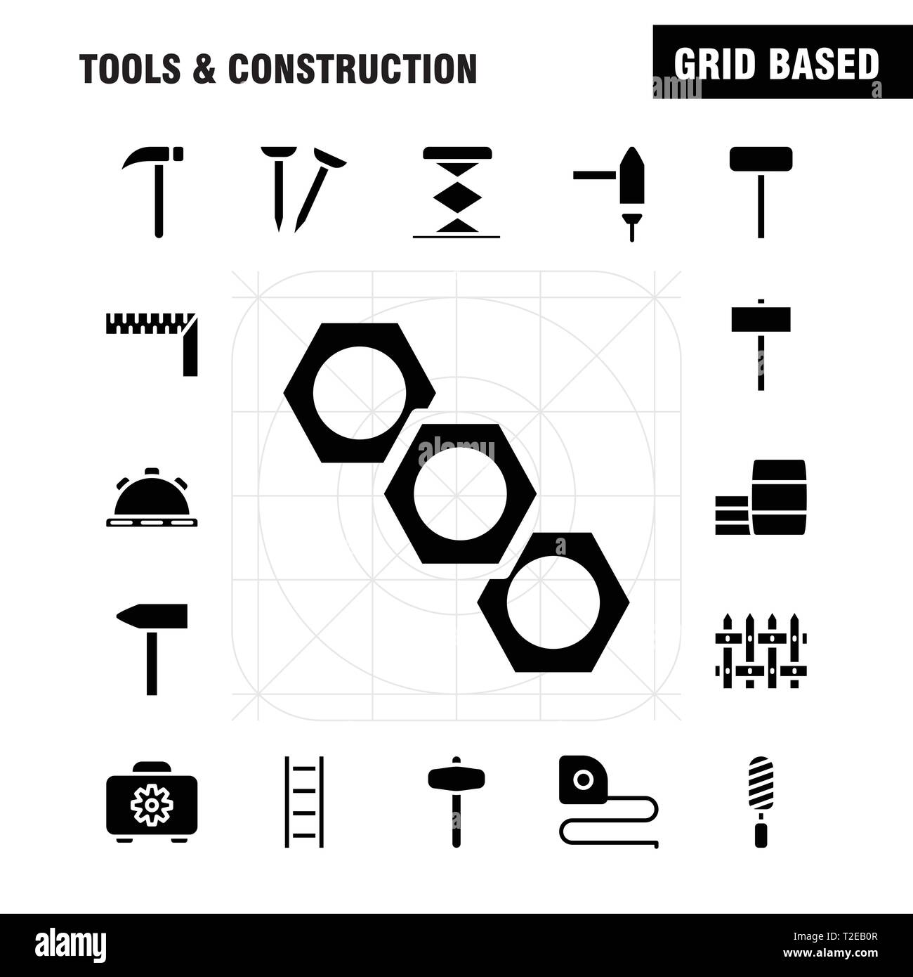 Tools And Construction Solid Glyph Icon Pack For Designers And Developers. Icons Of Box, Case, Cog, Construction, Construction, Measure, Tape, Tape Ve - Stock Image