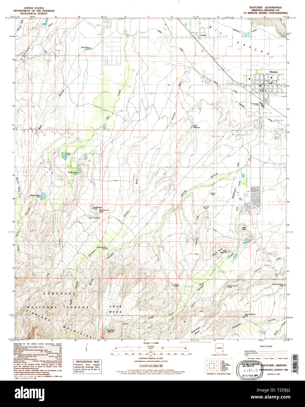 USGS TOPO Map Arizona AZ Thatcher 313695 1985 24000 ...