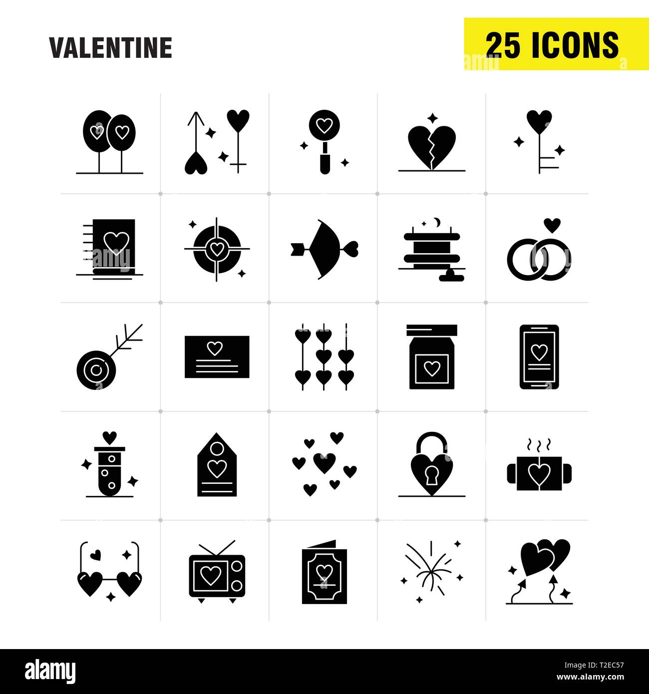 Valentine Solid Glyph Icons Set For Infographics, Mobile UX/UI Kit And Print Design. Include: Bottle, Medicine, Love, Valentine, Romantic, Book, Love, - Stock Image