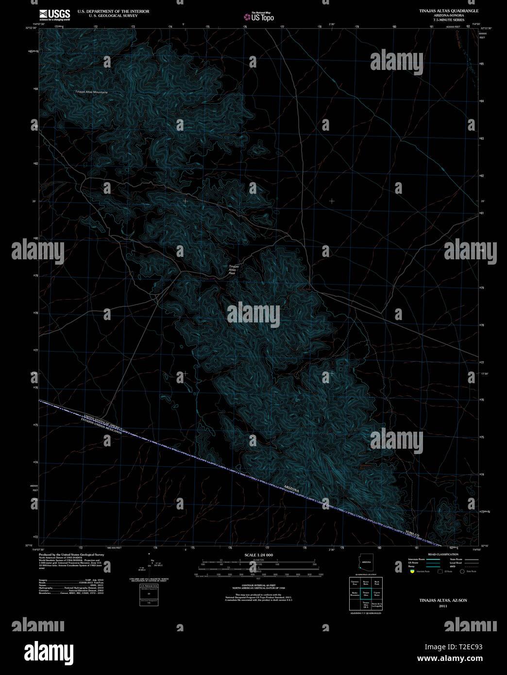 USGS TOPO Map Arizona AZ Tinajas Altas 20111123 TM Inverted Restoration - Stock Image