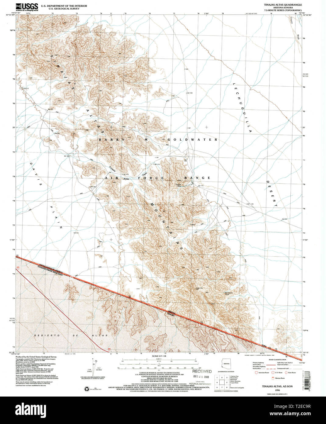 USGS TOPO Map Arizona AZ Tinajas Altas 313734 1996 24000 Restoration - Stock Image