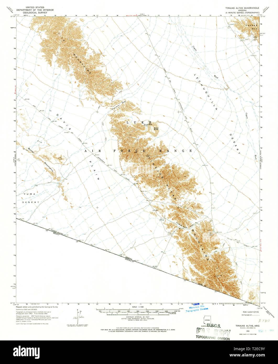 USGS TOPO Map Arizona AZ Tinajas Altas 315100 1965 62500 Restoration - Stock Image