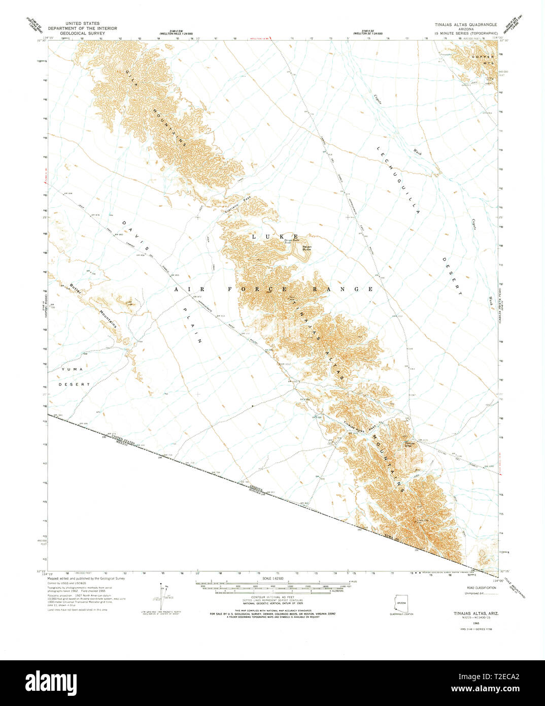 USGS TOPO Map Arizona AZ Tinajas Altas 315101 1965 62500 Restoration - Stock Image