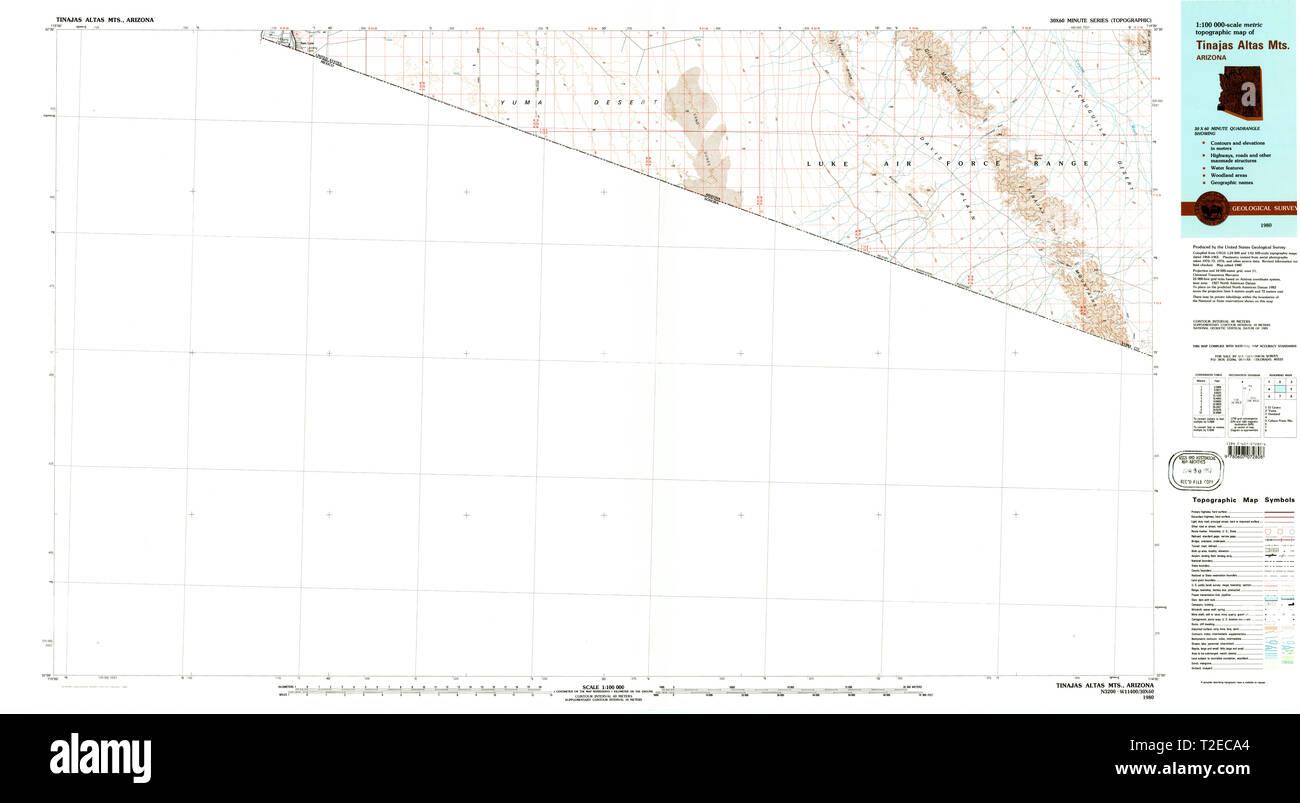 USGS TOPO Map Arizona AZ Tinajas Altas Mts 315311 1980 100000 Restoration - Stock Image
