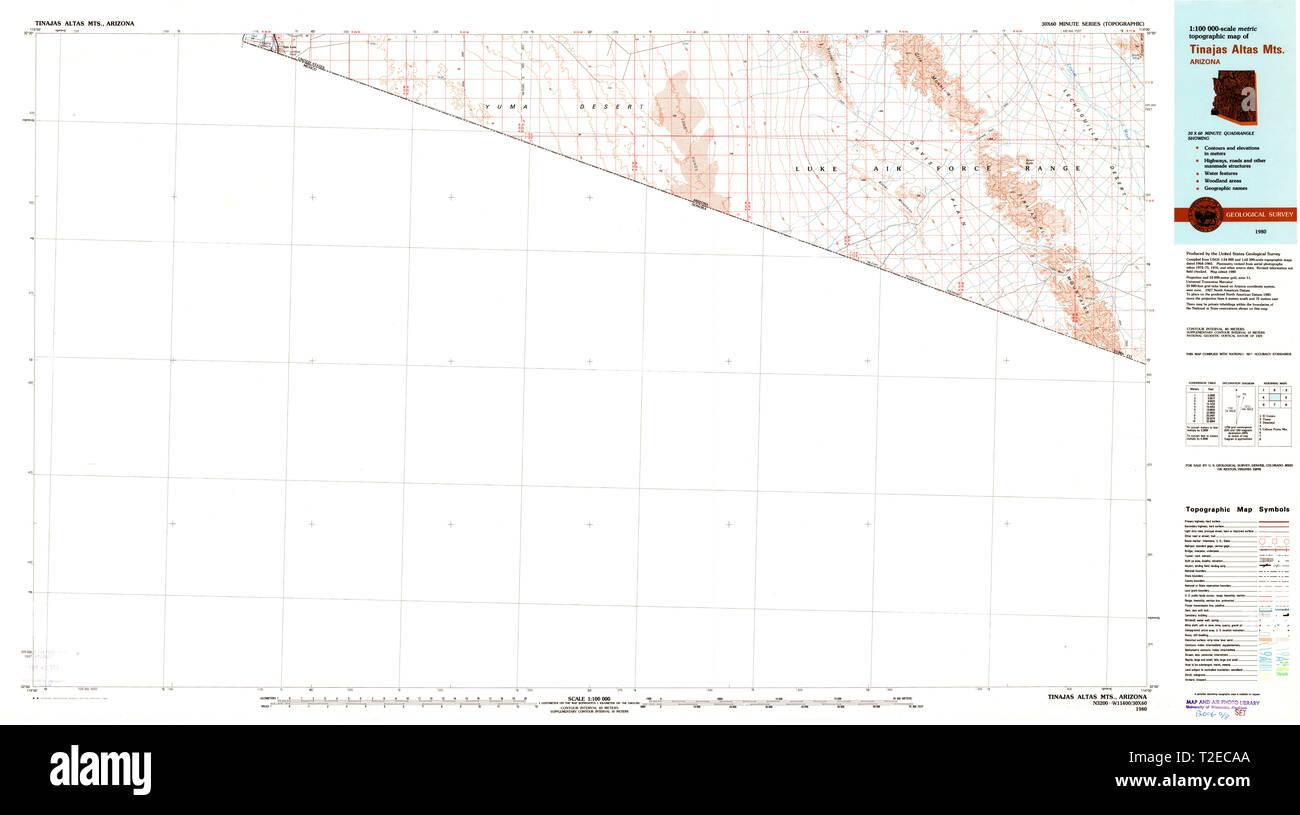 USGS TOPO Map Arizona AZ Tinajas Altas Mts 705276 1980 100000 Restoration - Stock Image