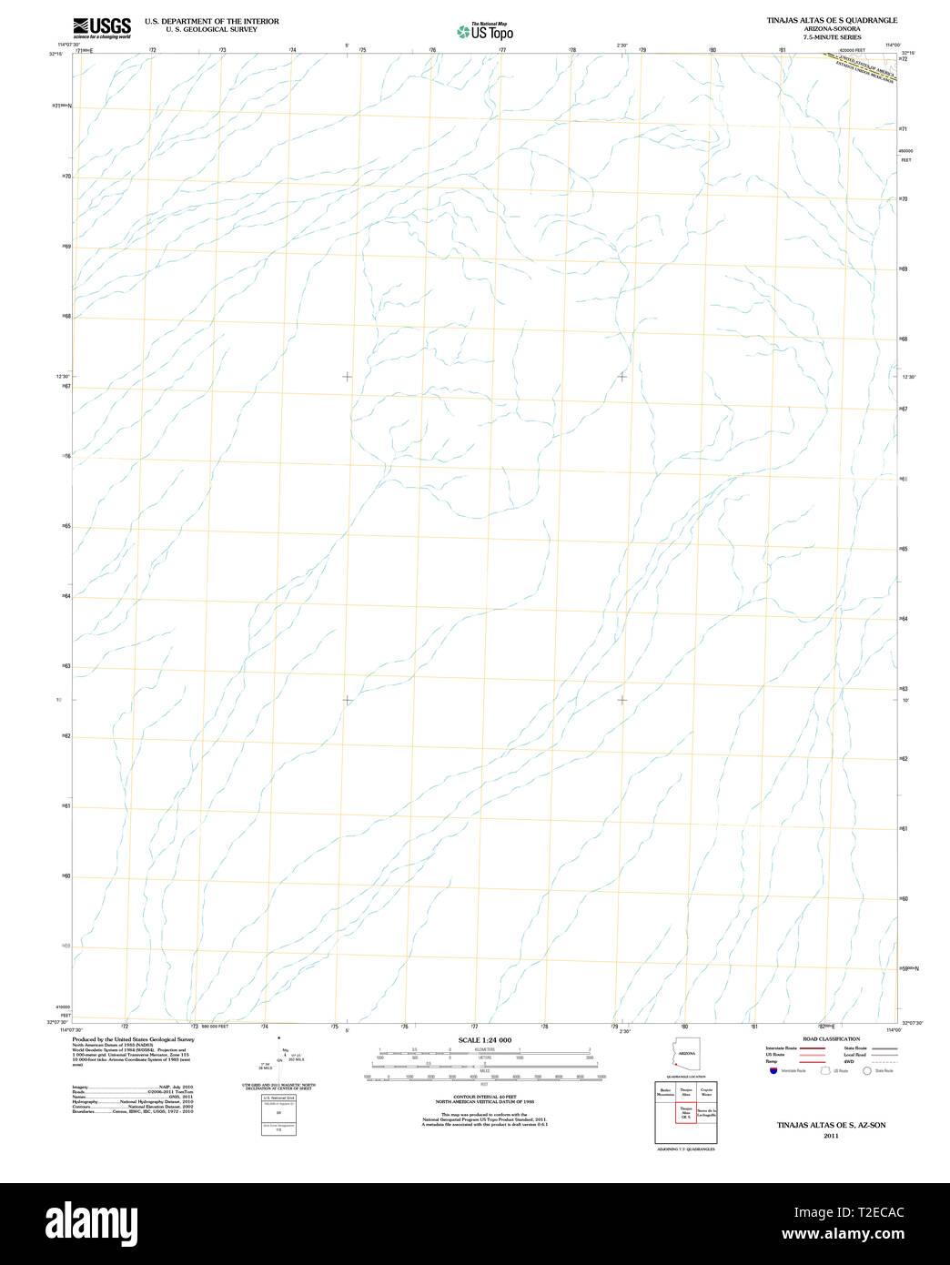 USGS TOPO Map Arizona AZ Tinajas Altas OE S 20111123 TM Restoration - Stock Image