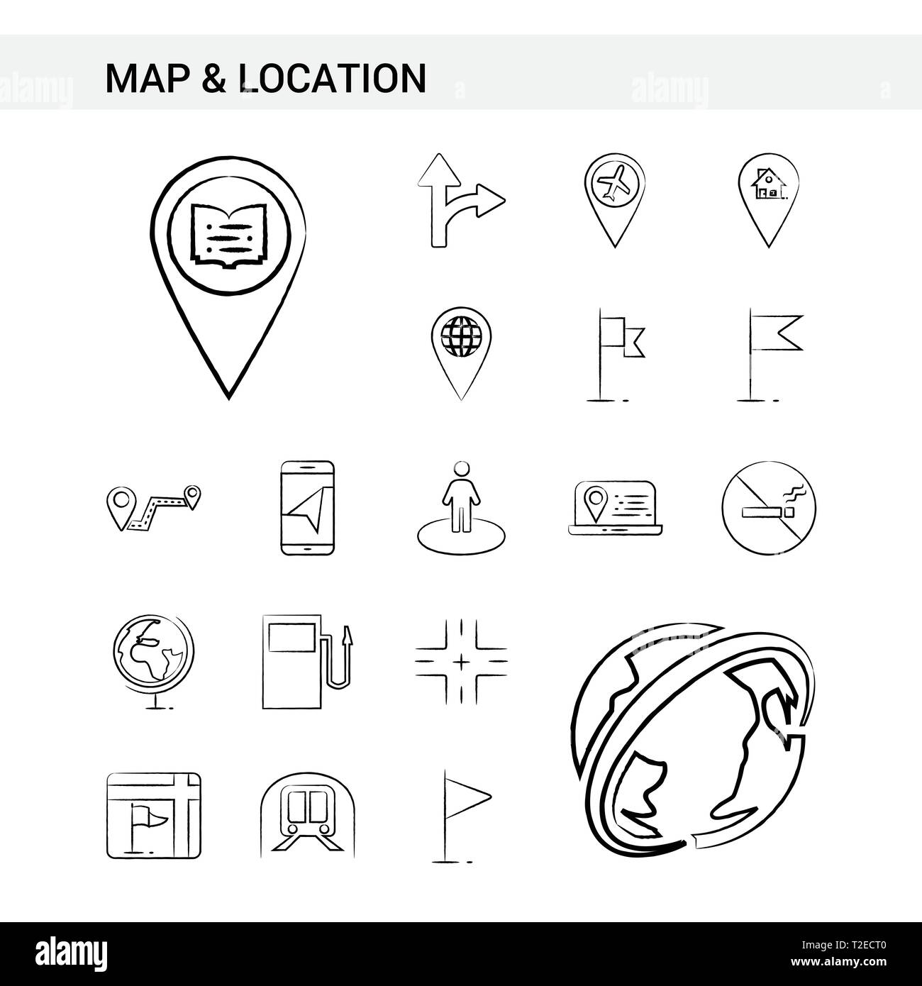 Map and Location hand drawn Icon set style, isolated on