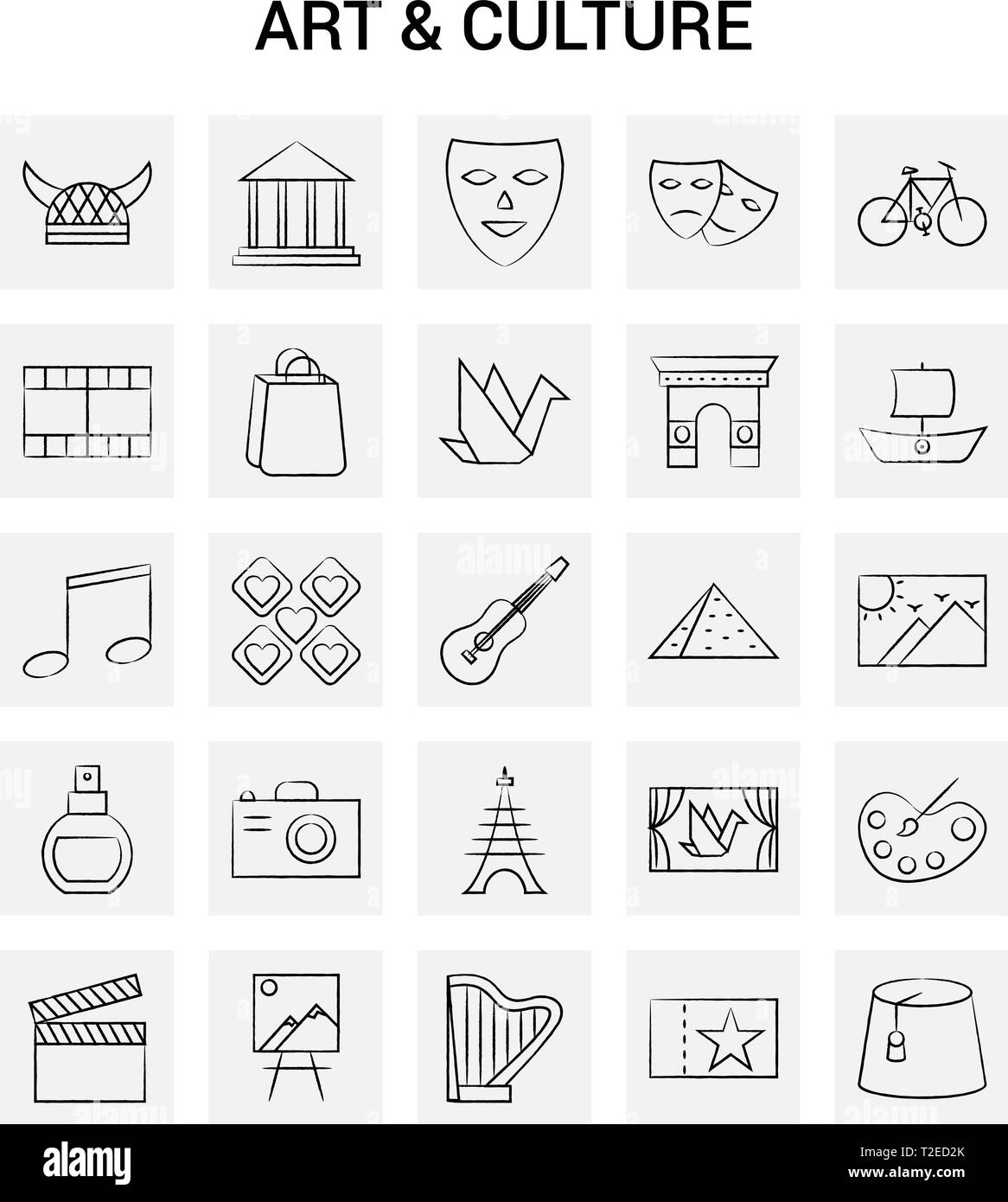 25 Hand Drawn Art and Culture icon set. Gray Background Vector Doodle - Stock Vector