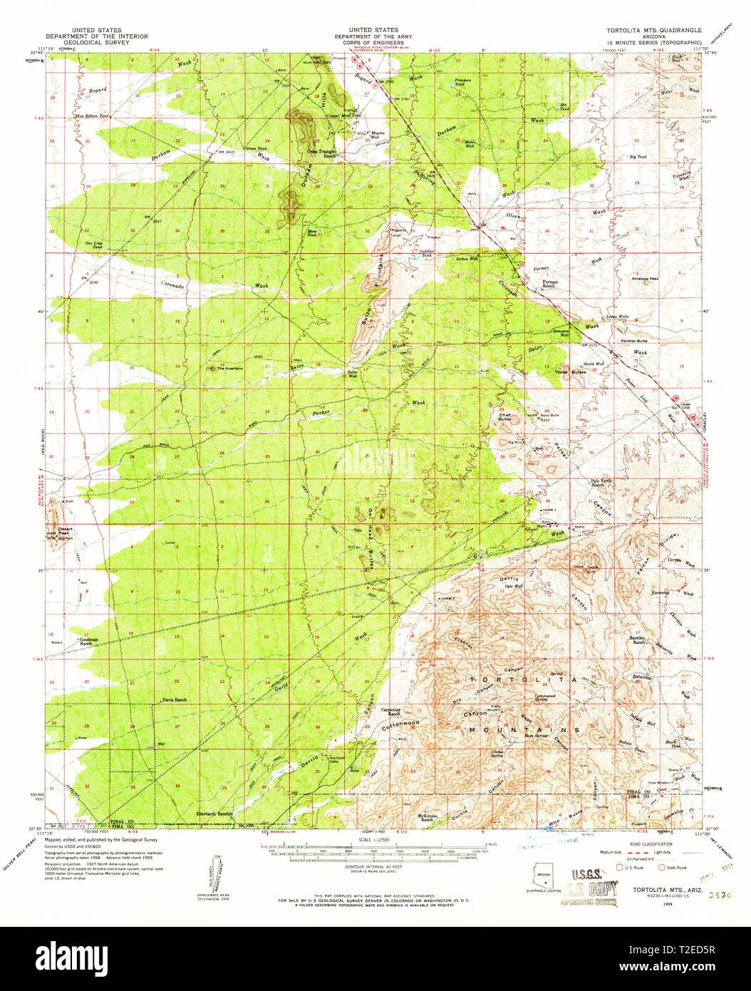 Topographical Map Of Arizona.Usgs Topo Map Arizona Az Tortolita Mts 315112 1959 62500