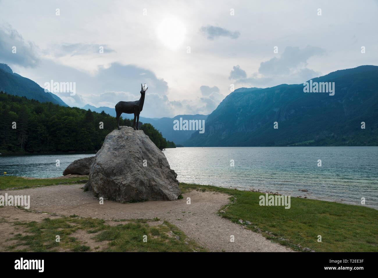 21 June 2018 Slovenia Idyllic scene of Julian Alps mountain and  Bohinj lake in Triglav national park in Slovenia on sunset Selective focus - Stock Image