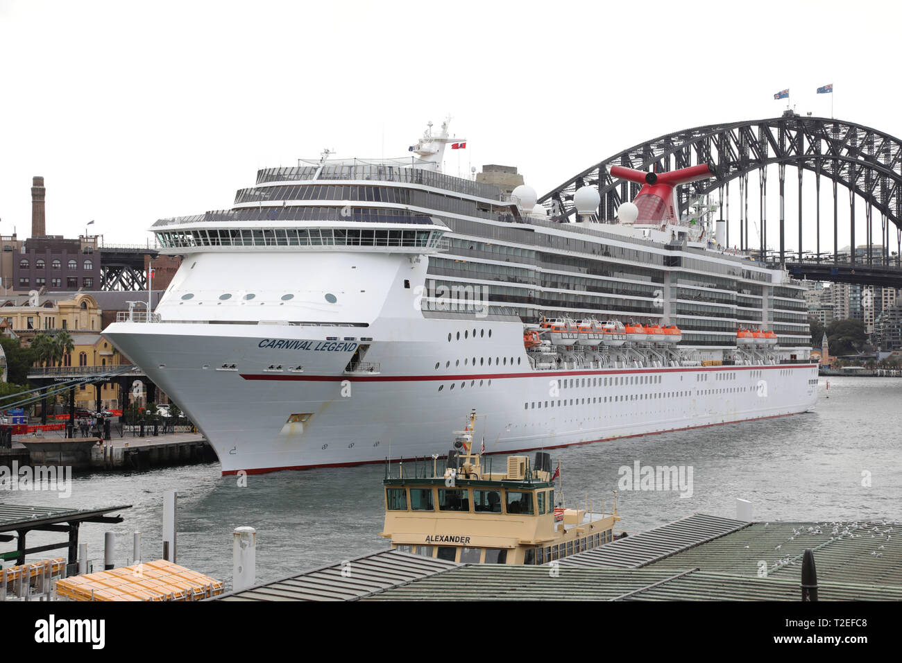 Carnival Legend cruise liner docked at the Overseas Passenger Terminal in Sydney, Australia. Stock Photo