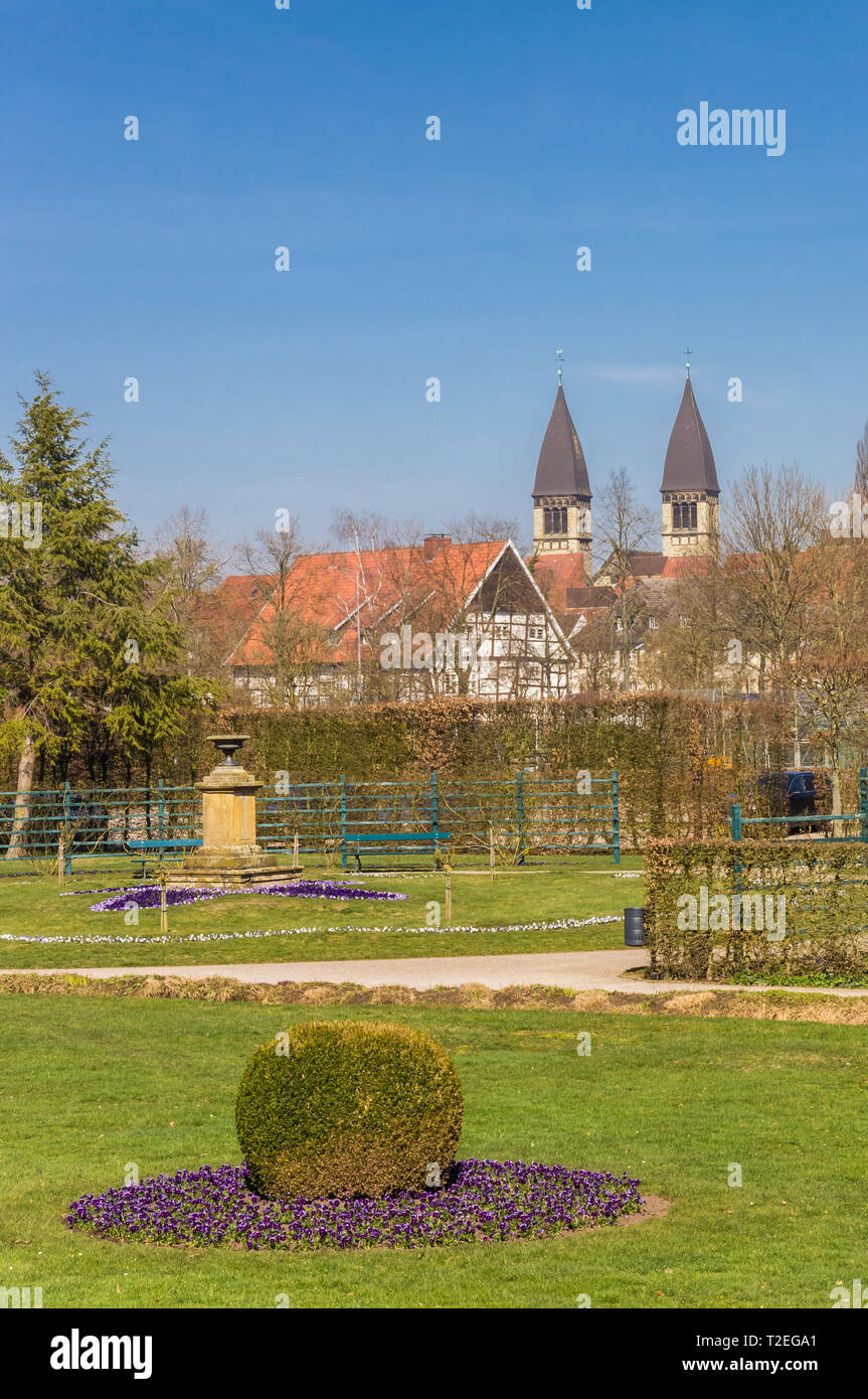 Castle park and church towers in Rheda-Wiedenbruck, Germany - Stock Image