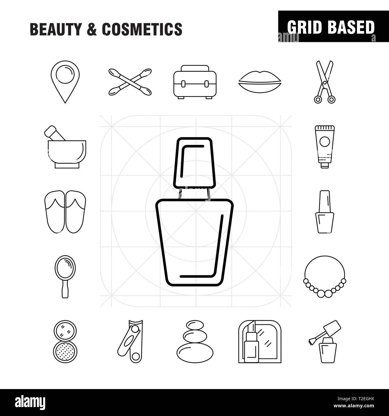 Beauty And Cosmetics Line Icon for Web, Print and Mobile UX/UI Kit. Such as: Jewel, Necklace, Present, Lips, Cosmetic, Mouth, Beauty, Clothes, Pictogr - Stock Image