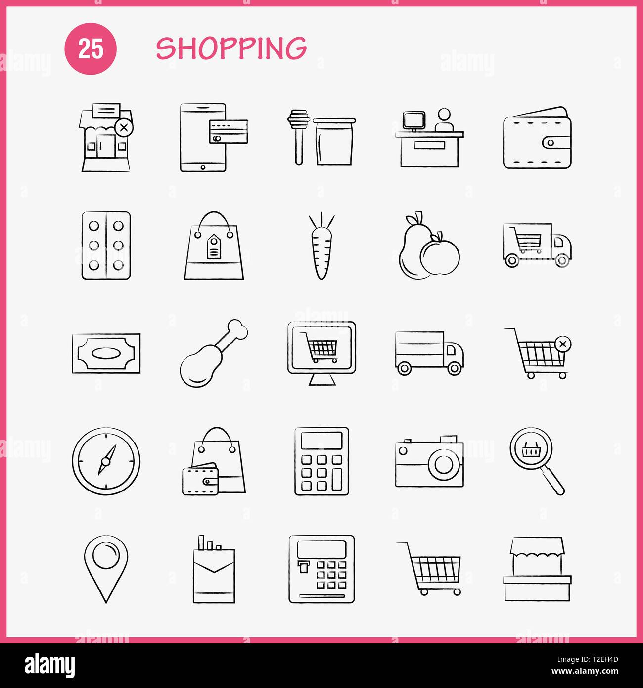 Shopping Hand Drawn Icon for Web, Print and Mobile UX/UI Kit. Such as: Building, Mall, Shopping, Shopping Mall, Shopping, Cart, Commerce, Pictogram Pa - Stock Vector