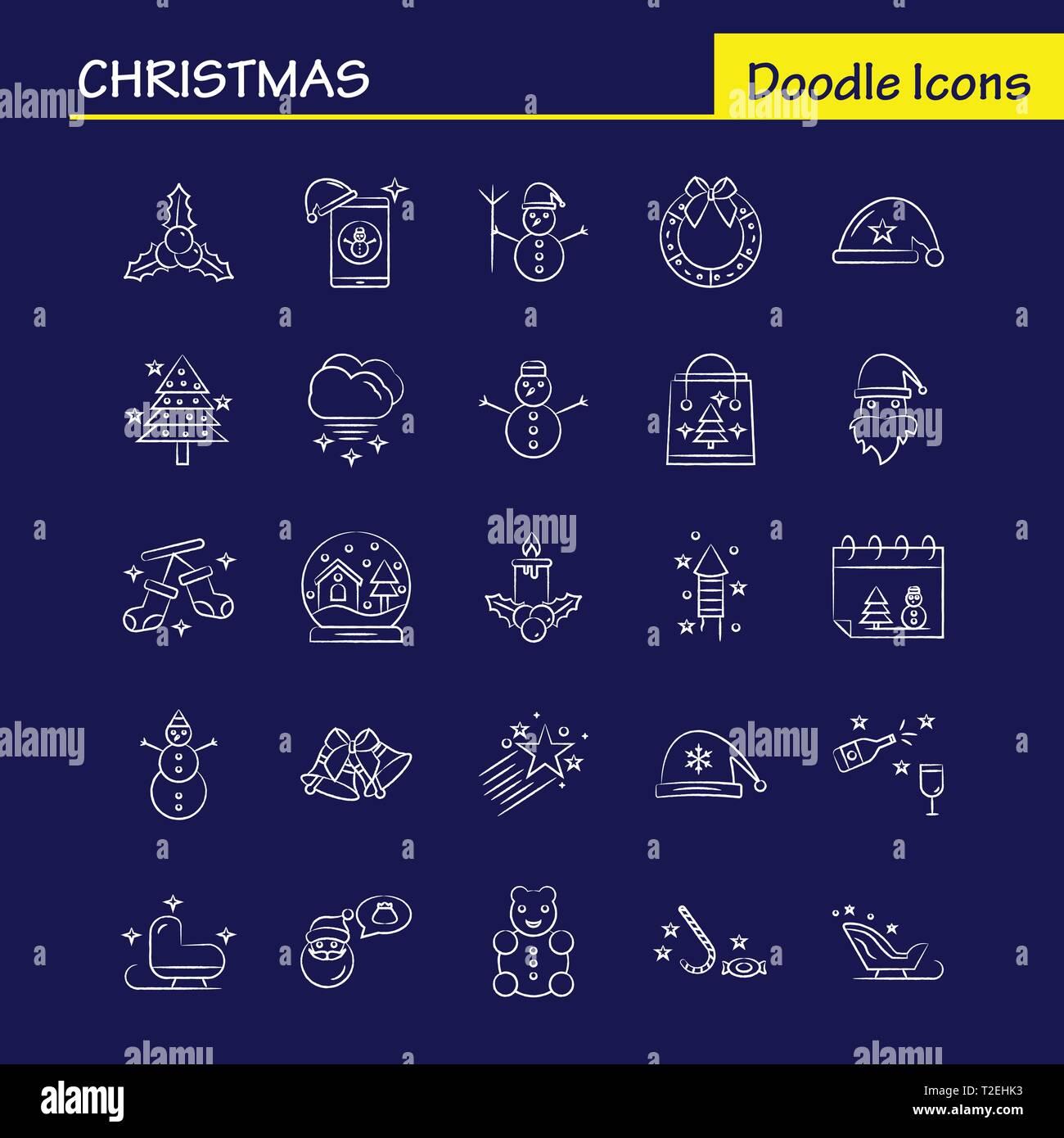 Christmas Hand Drawn Icons Set For Infographics, Mobile UX/UI Kit And Print Design. Include: Santa Clause, Santa, Christmas, Winters, Santa Clause, Sa - Stock Vector