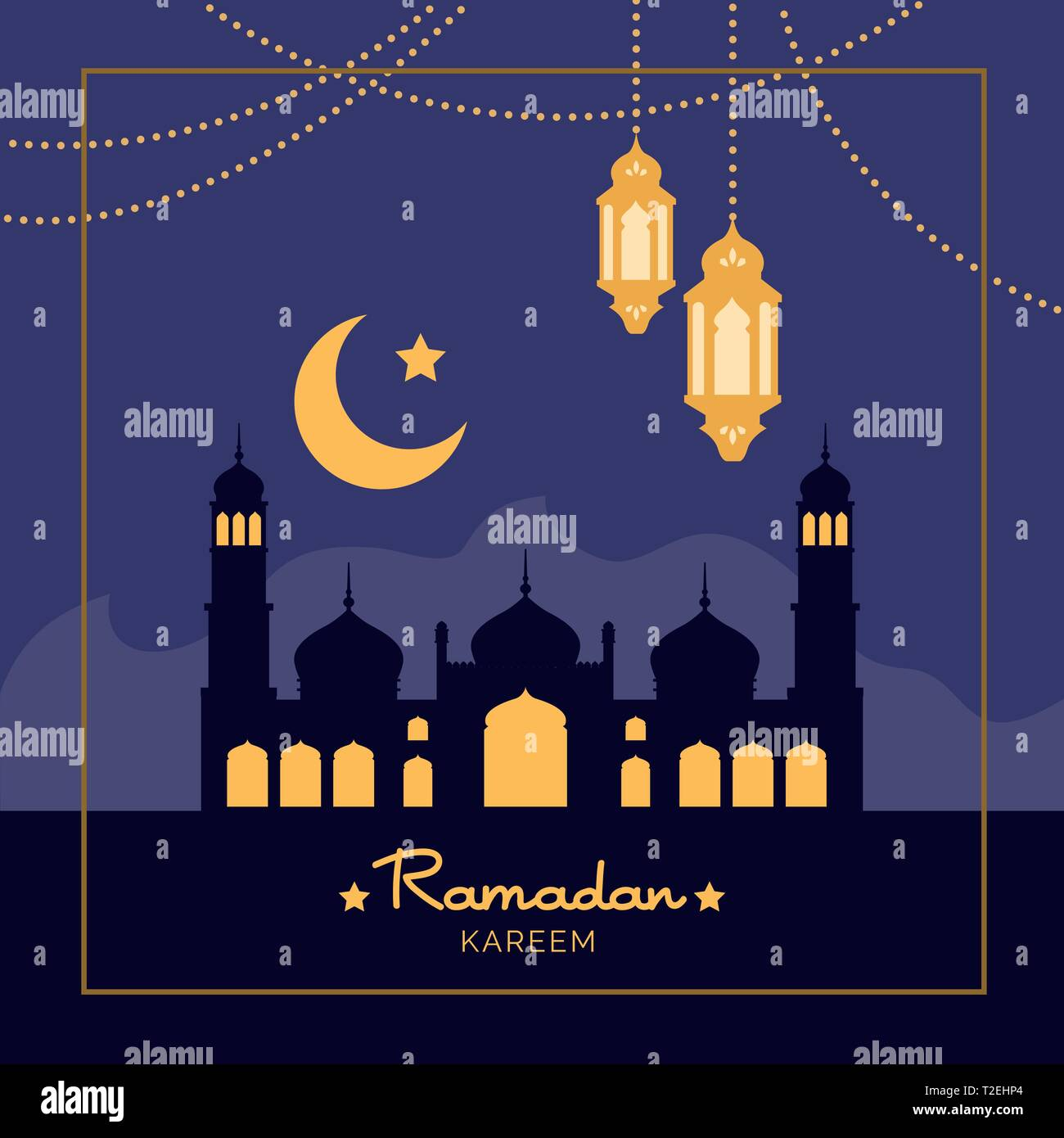 Ramadan Kareem holiday celebration card with mosque, lantern and