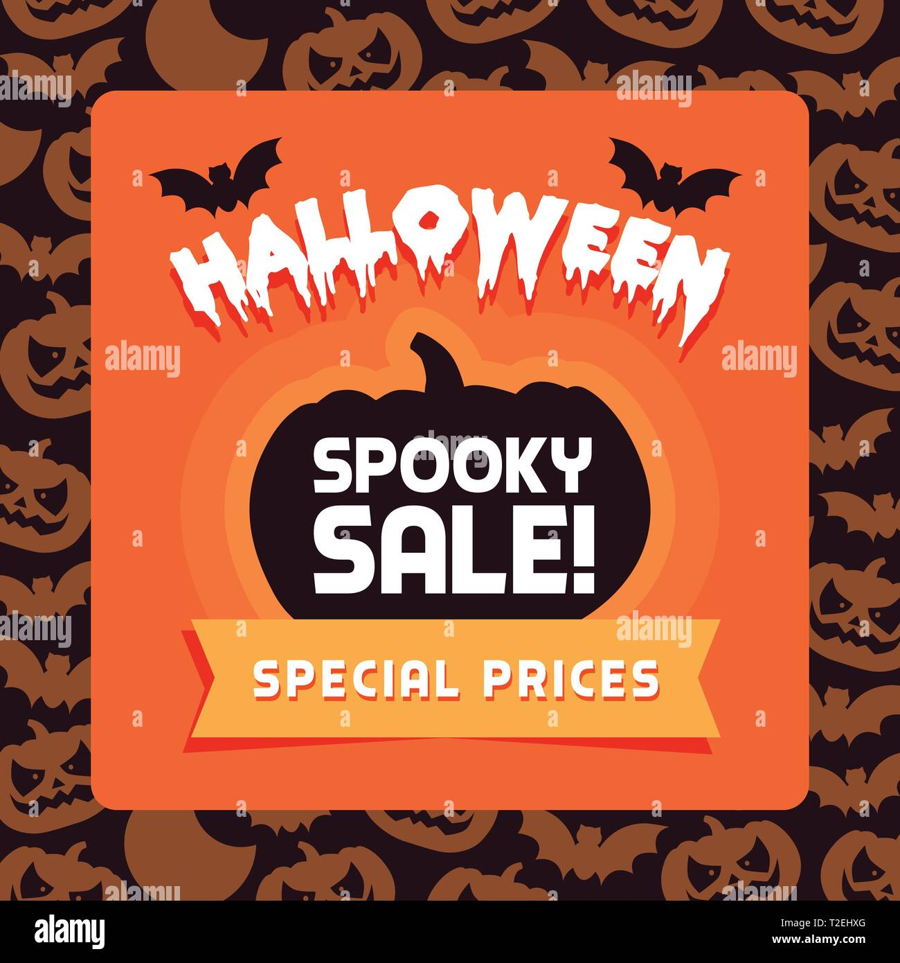 Happy Halloween promotional sales advertisement with pumpkins and bats - Stock Vector