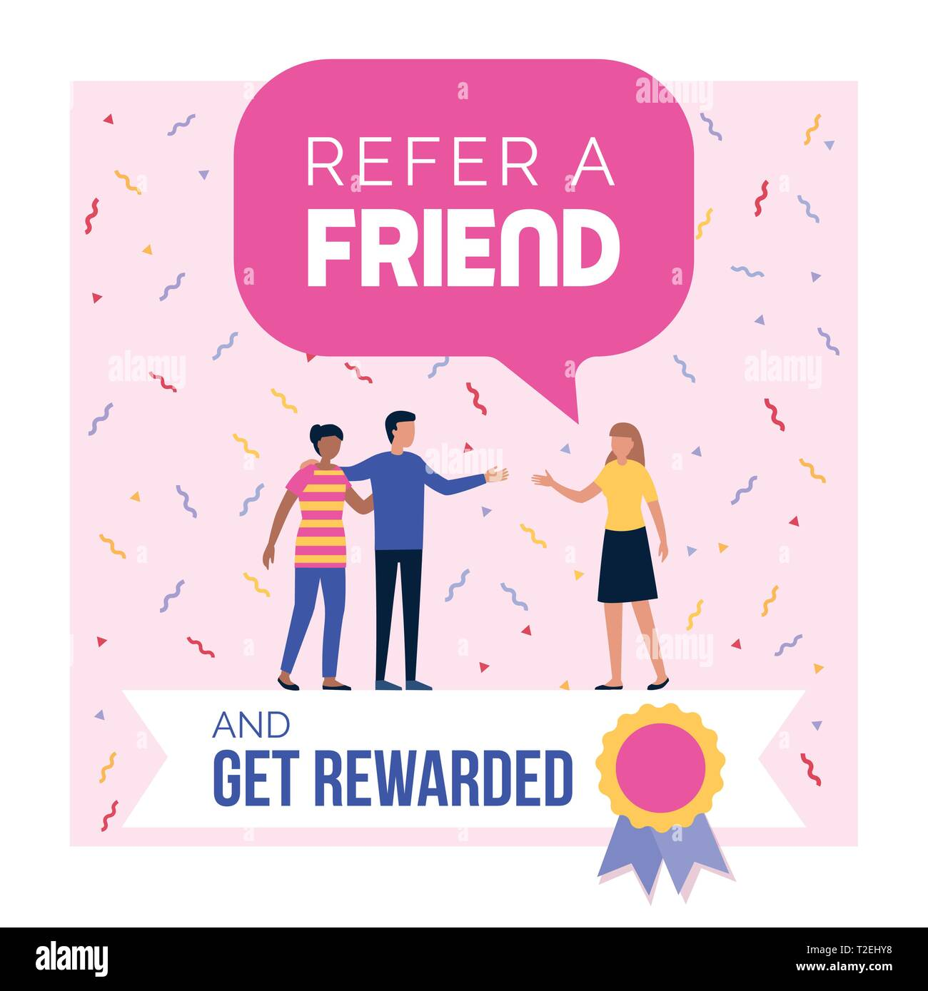Refer a friend and get rewarded promotional program advertisement and social media post design - Stock Image