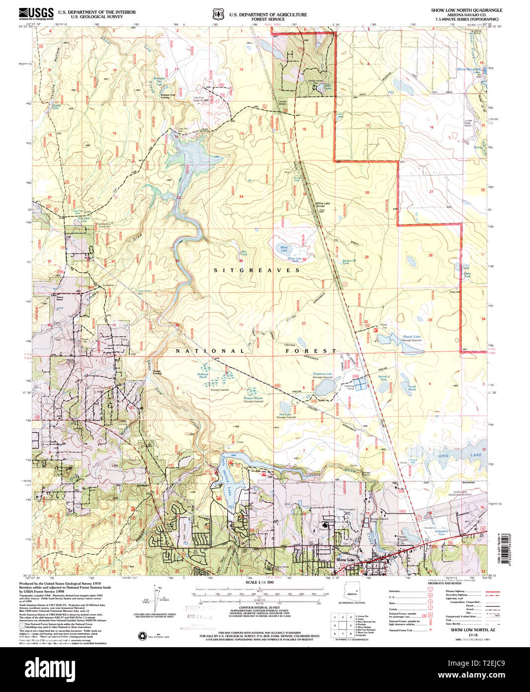 Show Map Of Arizona.Usgs Topo Map Arizona Az Show Low North 313369 1998 24000