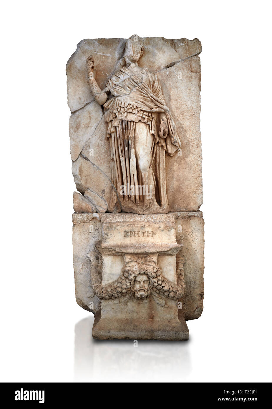 Roman Sebasteion relief sculpture of Krete Aphrodisias Museum, Aphrodisias, Turkey.   Against a white background.  The classical hairstyle, dress and  Stock Photo