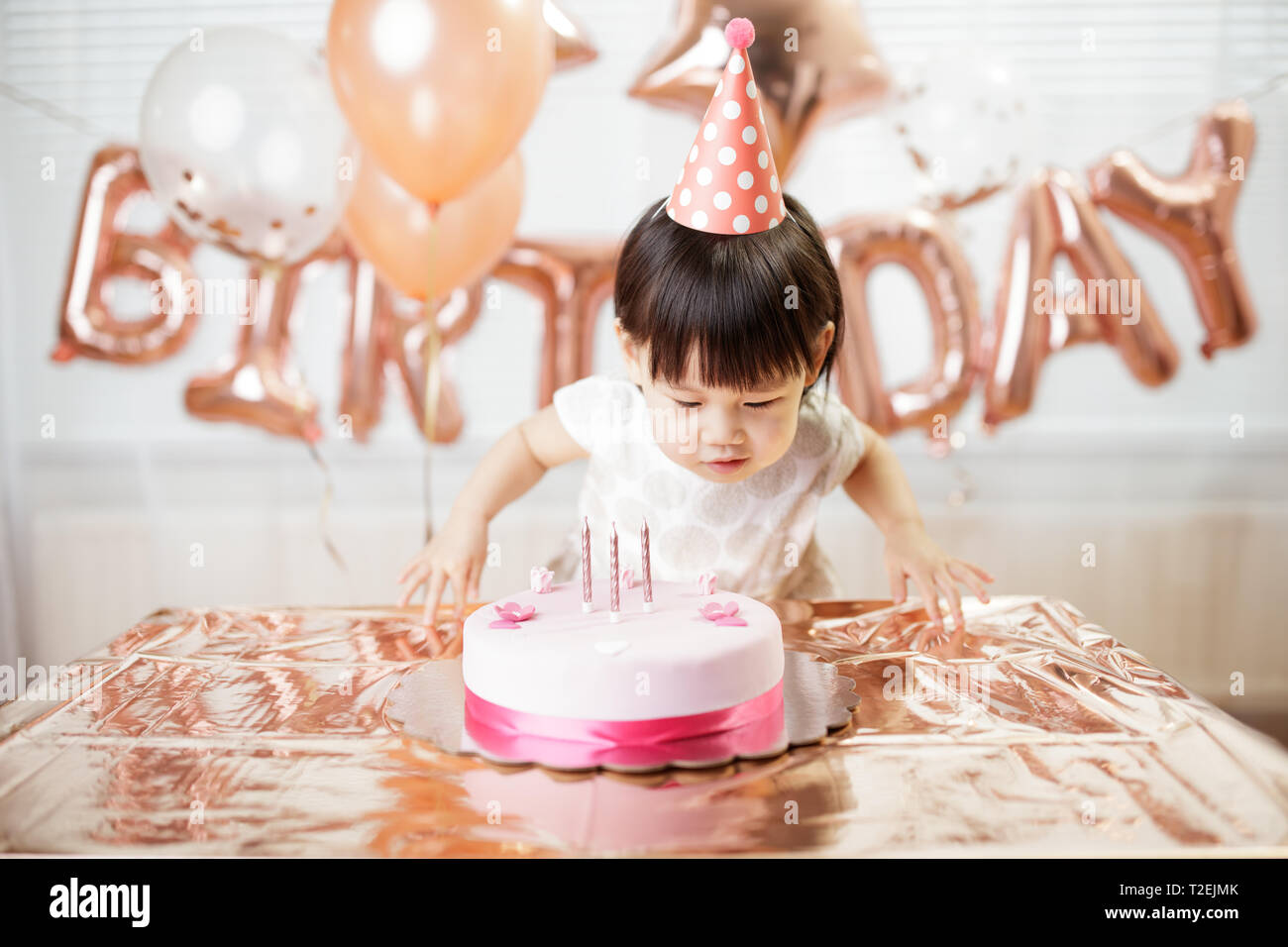 Pleasing Toddler Girl Celebrating Her Third Birthday At Home Stock Photo Birthday Cards Printable Benkemecafe Filternl
