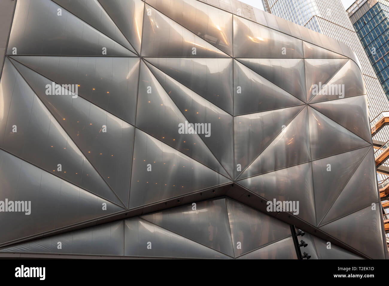 """Detail of """"The Shed"""" arts space in Hudson Yards on Saturday, March 30, 2019 . (© Richard B. Levine) Stock Photo"""