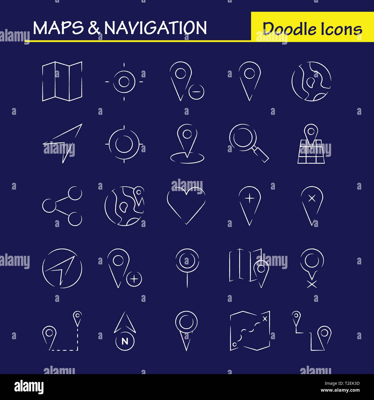 Maps And Navigation Hand Drawn Icon Pack For Designers And ... Map Designers on