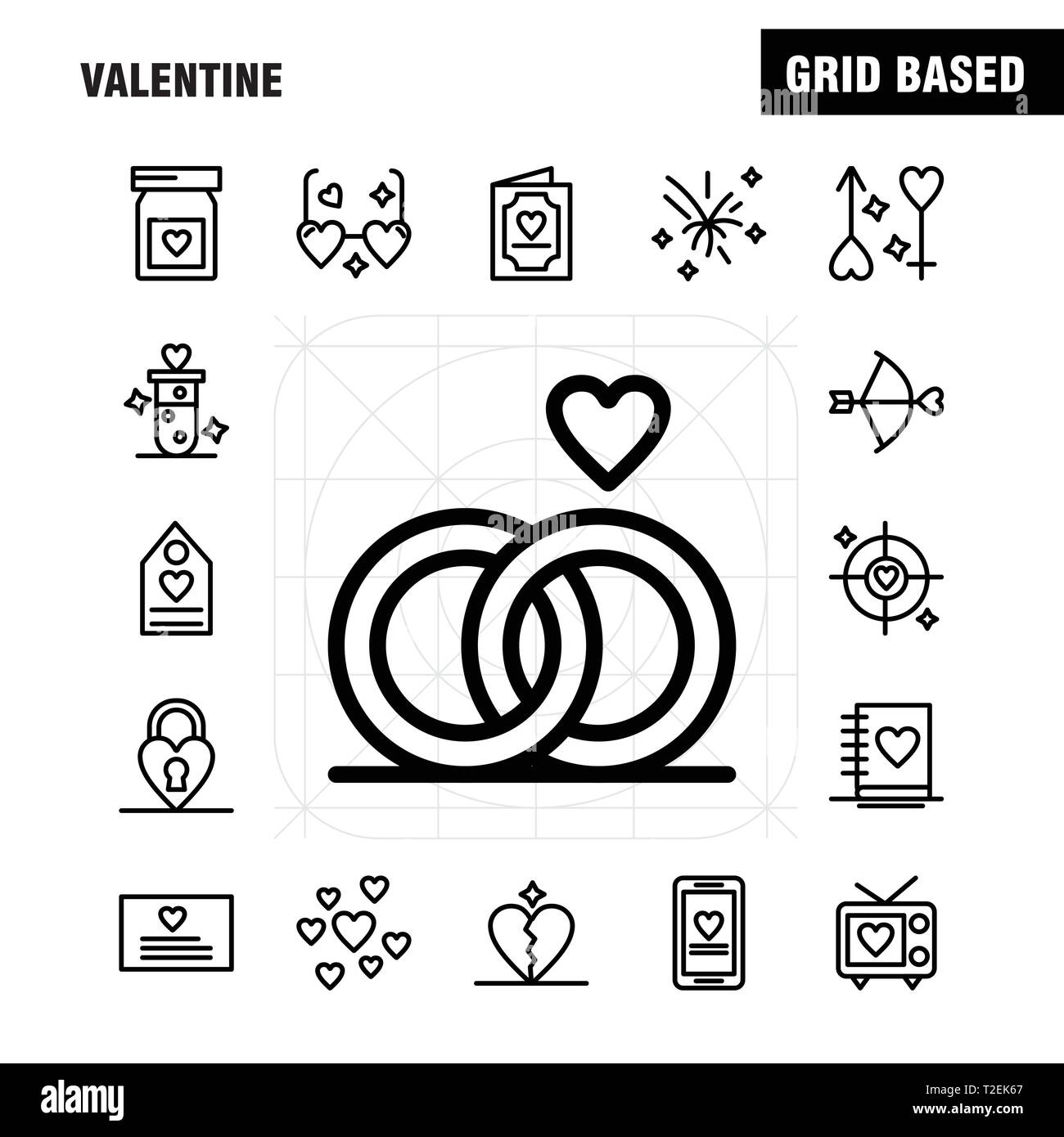 Valentine Line Icons Set For Infographics, Mobile UX/UI Kit And Print Design. Include: Bottle, Medicine, Love, Valentine, Romantic, Book, Love, Valent - Stock Image