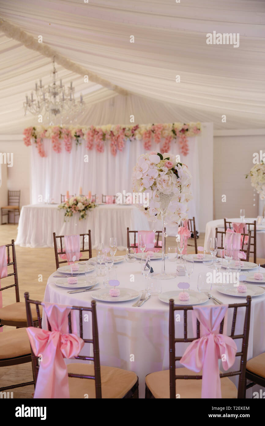 Wedding Setup Decoration During Reception Tender Pink And