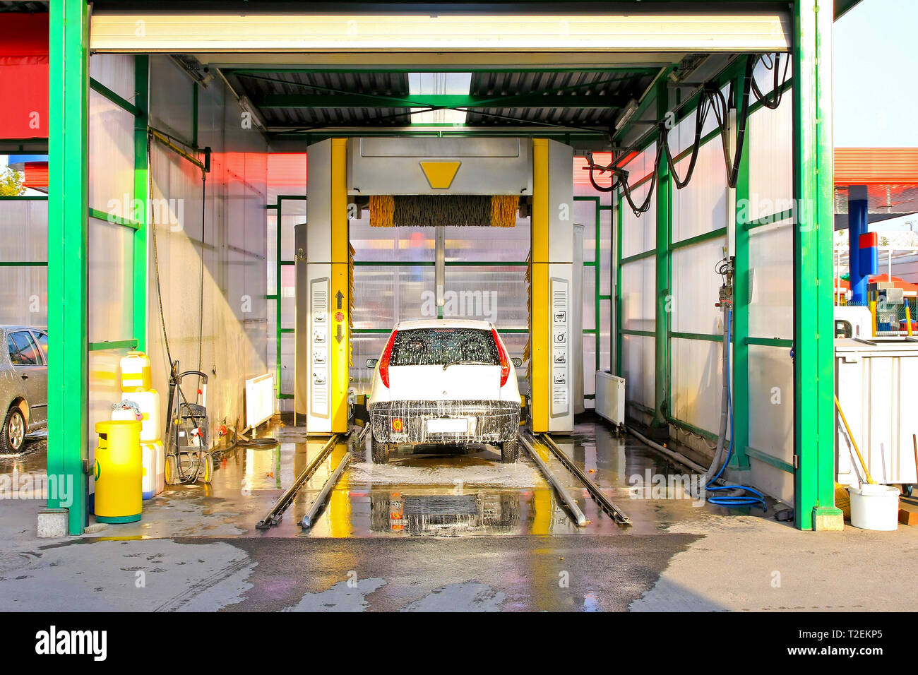 Drive Through Car Washing Equipment Stock Photos & Drive Through Car