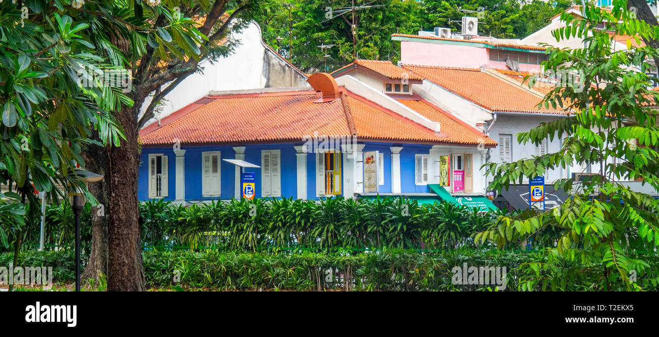 Colonial buildings set among tropical trees in Kampong Glam Rochor Singapore. - Stock Image