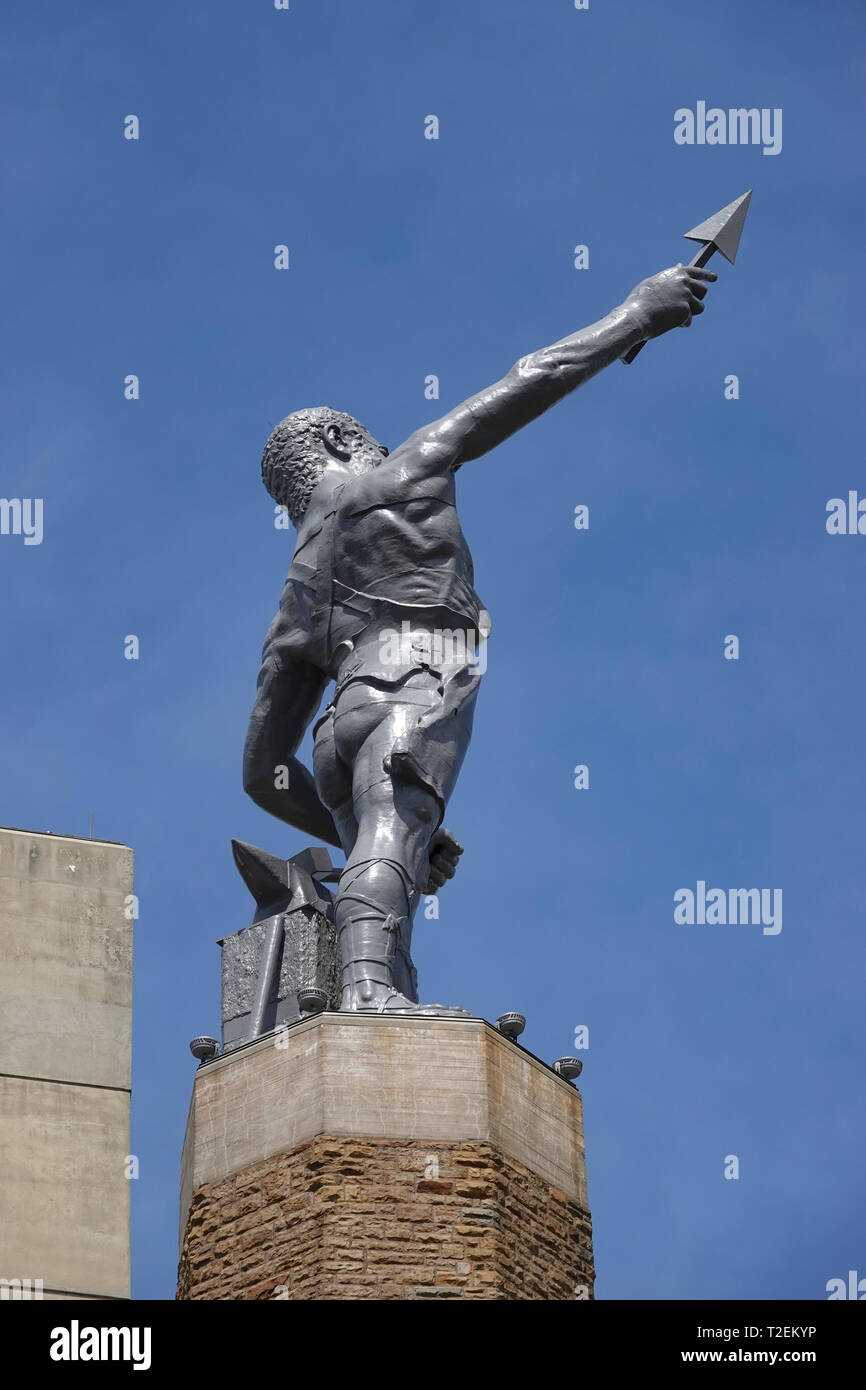 USA Alabama AL Birmingham Vulcan Park tower statue monument to the Roman God Vulcan god of fire and forge Stock Photo