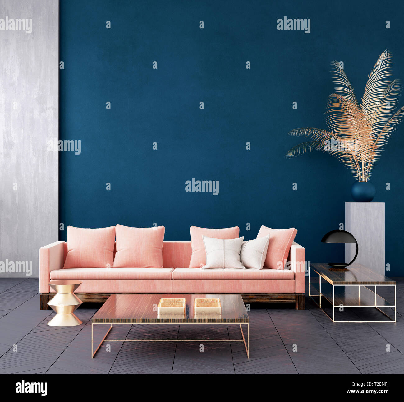 Modern dark blue living room interior with pink color couch ...