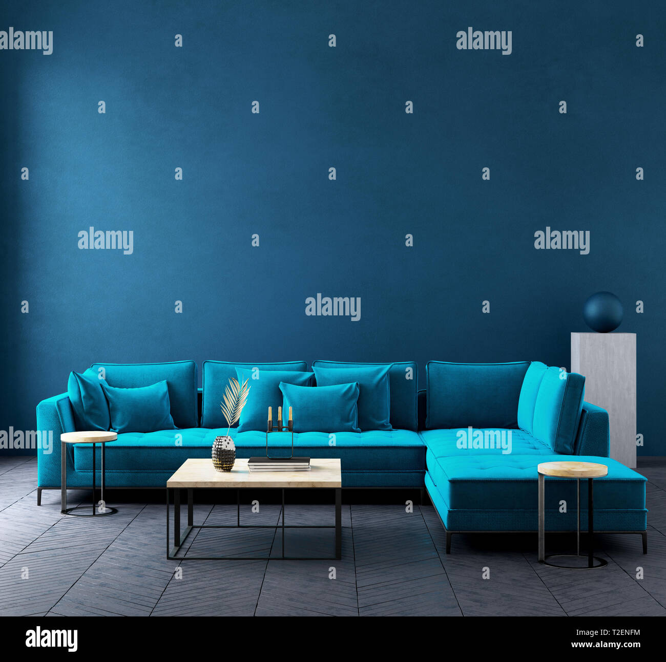 Modern dark blue living room interior with azure color couch ...