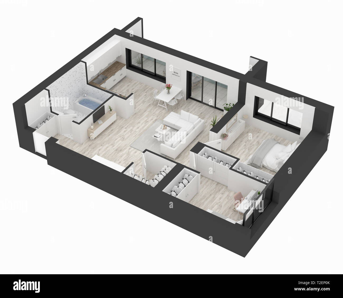 Floor Plan Of A Home Top View 3d Illustration Open Concept Living Apartment Layout Stock Photo Alamy