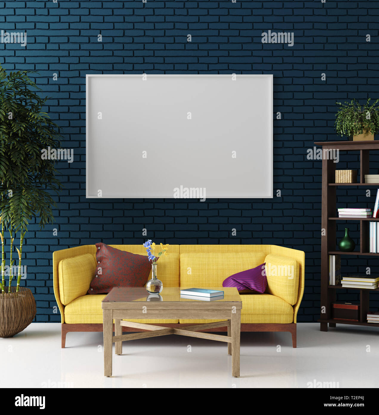Mockup In Colorful Hipster Living Room Bohemian Style 3d