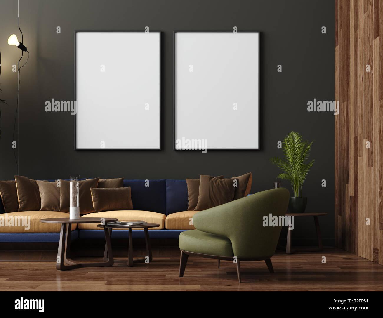 Mock up poster in luxury modern living room interior, dark ...