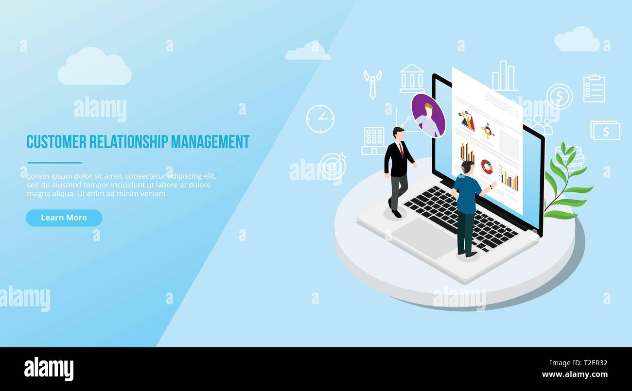 crm isometric customer relationship management concept for website