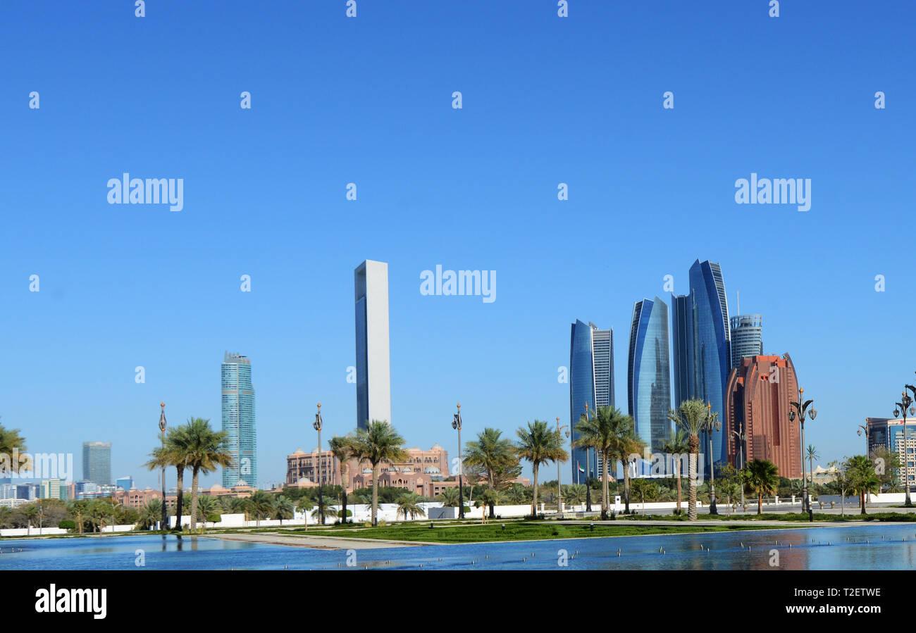 The beautiful Etihad Towers in Abu Dhabi. - Stock Image