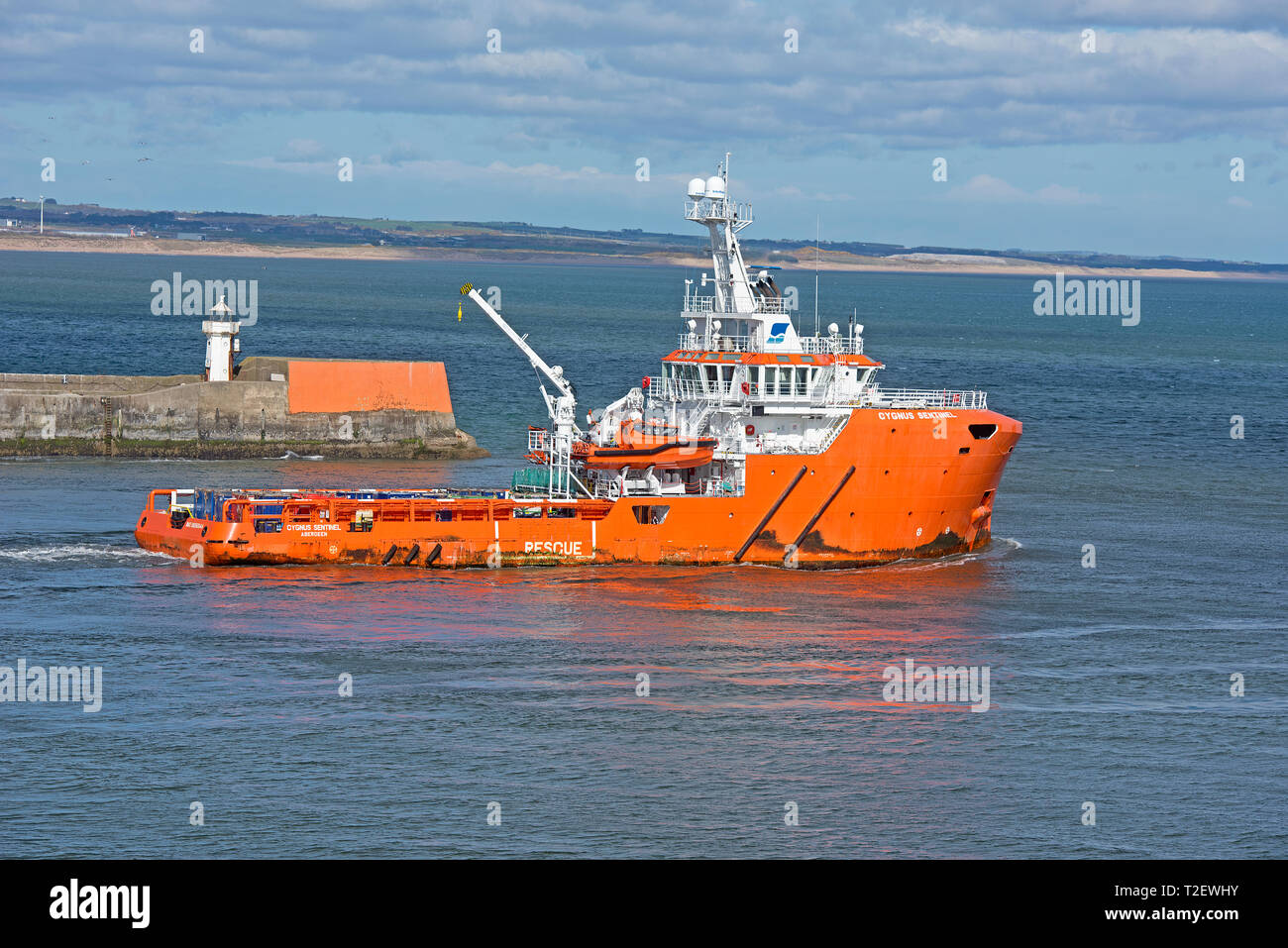 The Cygnus Sentinel OffshoresUPPLY vessel leaves its home port of Aberdeen to a destination  in the North Sea. Stock Photo