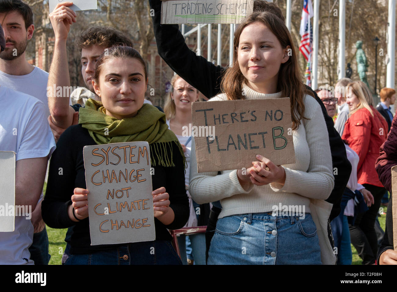 Student climate change protestors at Parliament Square in London. Stock Photo