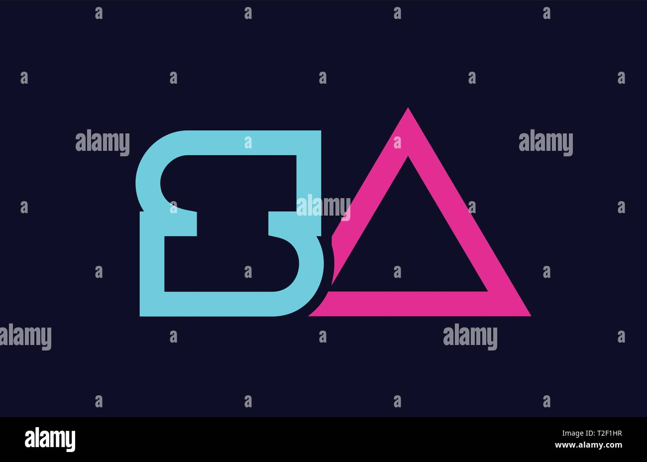 SA S A blue pink colorful alphabet alphabet letter logo combination design suitable for a company or business - Stock Vector