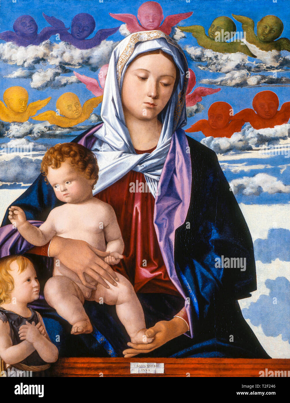 Workshop of Giovanni Bellini, Madonna and Child with St. John the Baptist, painting, c. 1490 - Stock Image