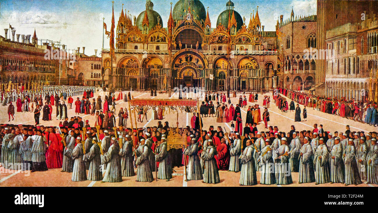 Gentile Bellini, Procession of the True Cross in St. Mark's Square, painting, 1496 - Stock Image