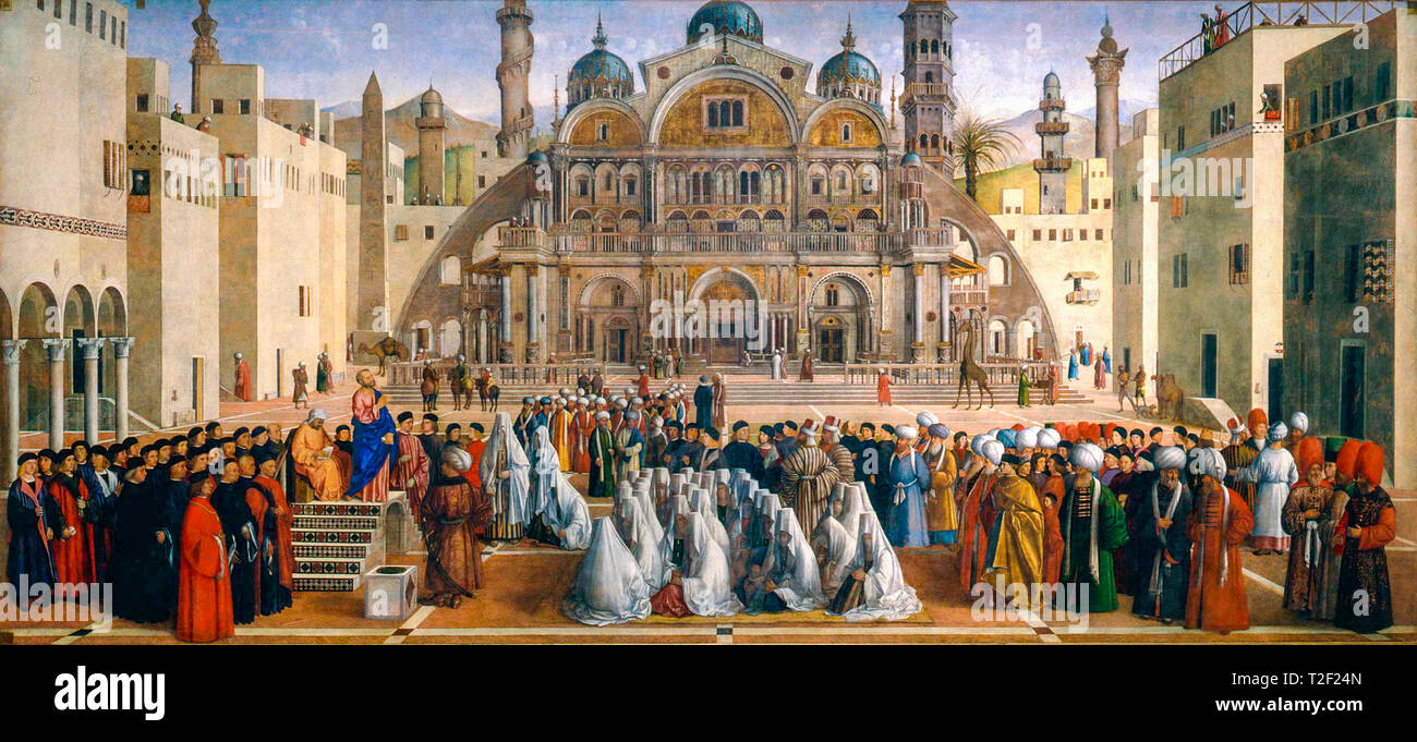 Gentile Bellini, Giovanni Bellini, The Preaching of Saint Mark in Alexandria, painting, c. 1504 - Stock Image