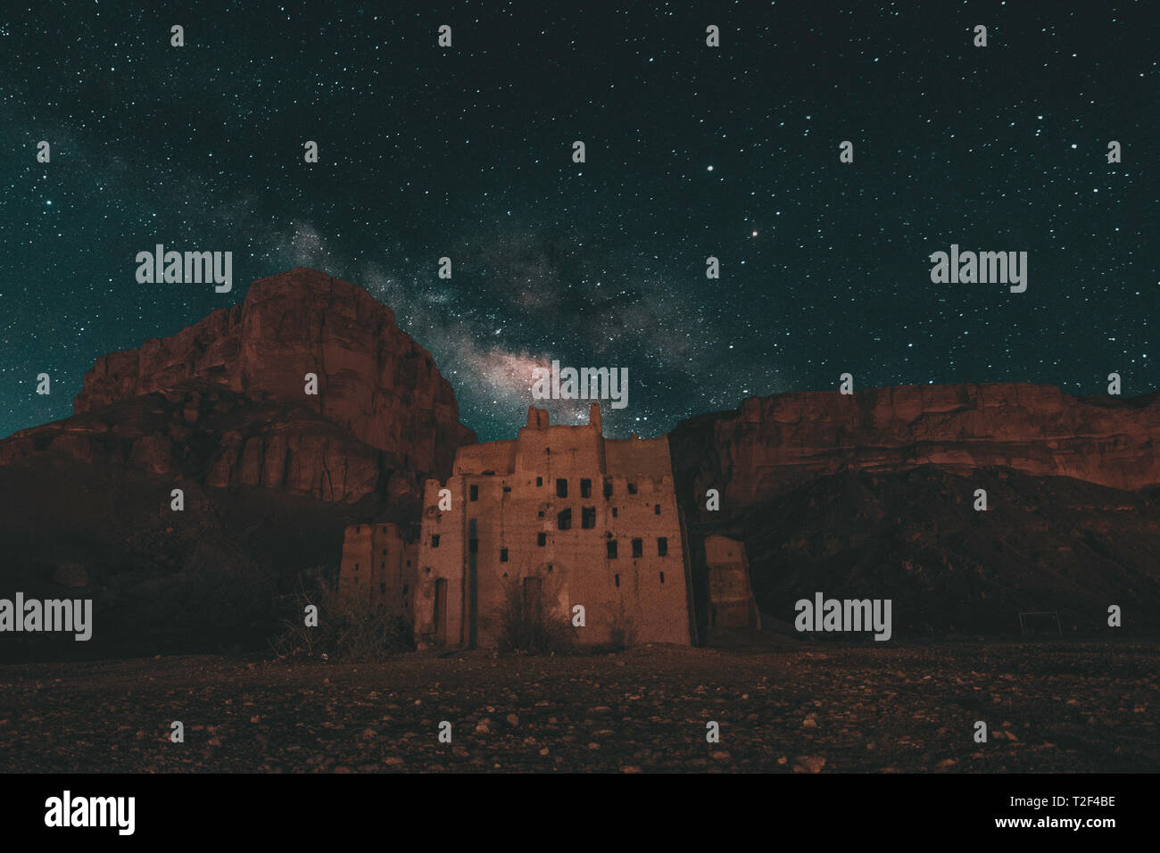Old arab house made of mud milkyway night Landscape - Stock Image