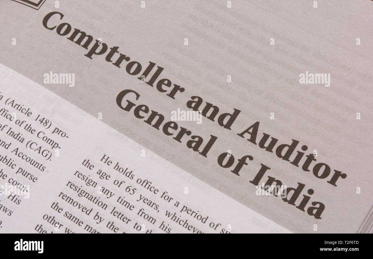 CAG or Comptroller and Auditor General of India Printed on black and white paper. - Stock Image